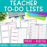 Teacher To Do Lists | Editable