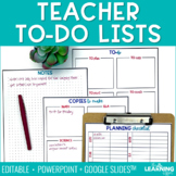 Teacher To Do Lists | Editable