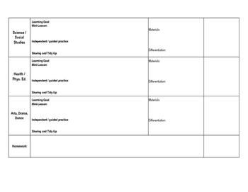 Teacher Planner Elementary Weekly Daily