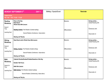 Teacher Planner Elementary Weekly Daily