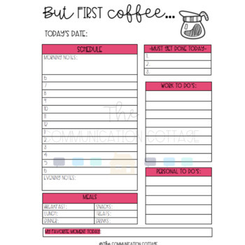 Daily Planner Pages- But First Coffee
