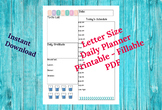Daily Planner Printable Planner PDF Daily Agenda Day Calendar *Bonus Page Tabs