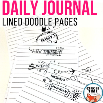 Daily Planner Printables for Kid's Bullet Journal: Notebook Lined Pages
