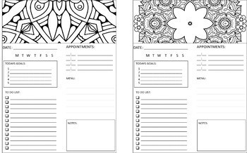 Daily Planner, Setting Goals and Mindful Meditating Coloring Journal
