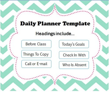 Daily Planner Template For The Classroom