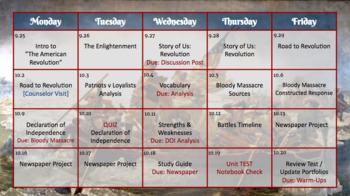 Daily Planner and Agenda Slides [Unit Overviews, Calendars, & Lessons Archive]