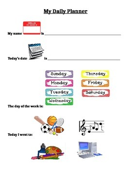 Daily Planner for Life Skills Students