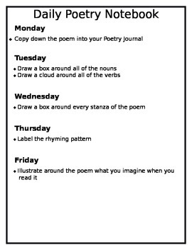 Daily Poetry Notebook Student Guidelines