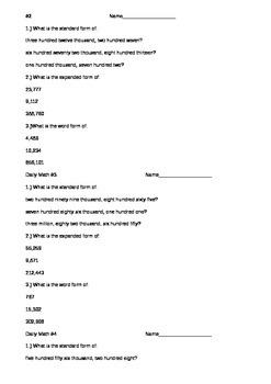 Daily Practice 8 Days + Review Quiz- Place Value Unit