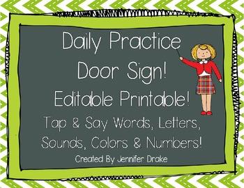 Daily Practice Door Signs!  5 Versions & Editable Sheet of