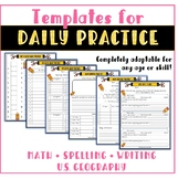 Homeschool Daily Practice Math, Spelling, and Geography skills