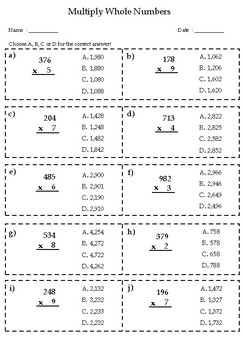 100 Q Daily Practice Multiplication (morning activity, warm up, test prep) Free