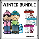 Math and Language Arts Morning Work for Second Grade (Winter Bundle)
