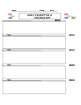 Daily Practice sheet for Caught'ya's Grammar with a Giggle
