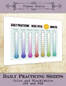 Daily Music Practicing Log - Color and Black White - several timings