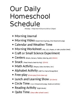 Daily Prek  Home School Schedule
