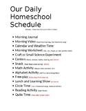 Daily Prek  Home School Schedule