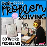 Math Journal Prompts {50 Problem Scenarios} in TWO Formats with Rubric