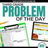 Daily Problem Solving for 3rd Grade: November Word Problems