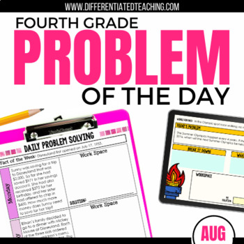Daily Problem Solving for 4th Grade: August Word Problems