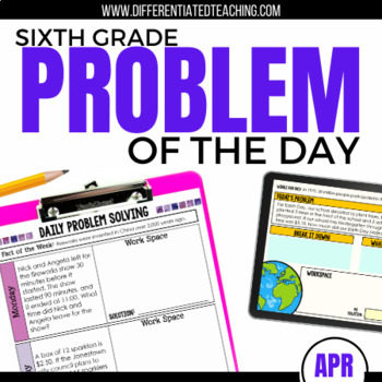Daily Problem Solving for 6th Grade: April Word Problems