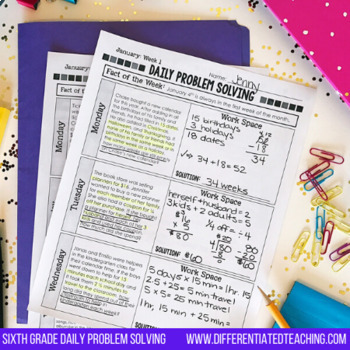 Daily Problem Solving for 6th Grade: February Word Problems