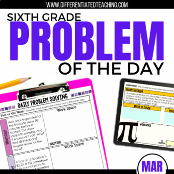 Daily Problem Solving for 6th Grade: March Word Problems