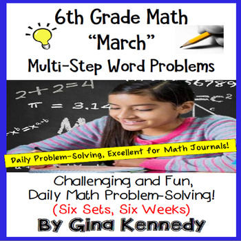 6th Grade March Daily Problem Solving: Math Challenge Problems (Multi-Step)