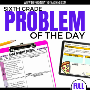 Daily Problem Solving for 6th Grade: Yearlong Word Problems