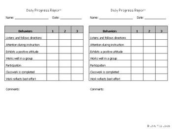 Daily Progress Report (Behavioral)