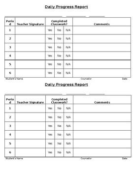 daily progress report teaching resources teachers pay teachers