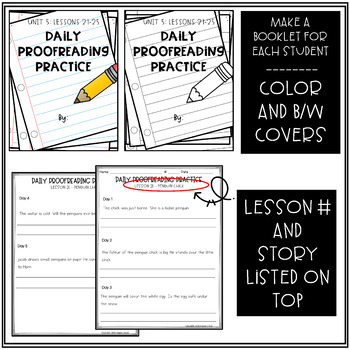 Daily Proofreading Practice - Aligns w/ Gr.2 Houghton Mifflin Journeys: Unit 5