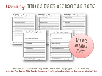 Daily Proofreading Practice - Fifth Grade Journeys Units 1-6 Lessons 1-30 - DOL