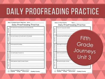 Daily Proofreading Practice - Fifth Grade Journeys Unit 3 Lessons 11-15 - DOL