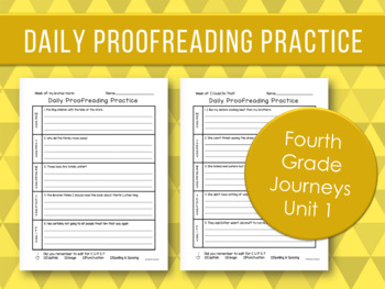Daily Proofreading Practice - Fourth Grade Journeys Unit 1 Lessons 1-5 - DOL