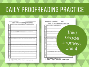 Daily Proofreading Practice - Third Grade Journeys Unit 4 Lessons 16-20 - DOL