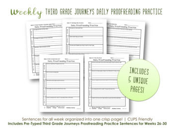 Daily Proofreading Practice - Third Grade Journeys Unit 6 Lessons 26-30 - DOL
