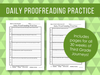 Daily Proofreading Practice - Third Grade Journeys Units 1-6 Lessons 1-30 - DOL