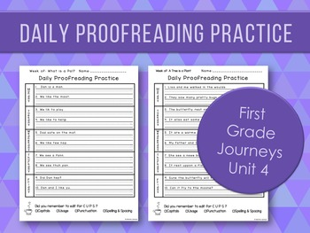 Daily Proofreading Practice Unit 4 First Grade Journeys -