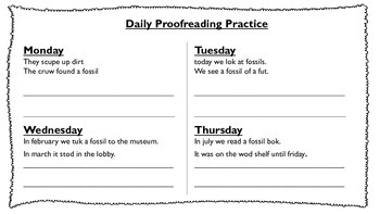 Daily Proofreading Unit 6 Journeys - 2nd grade