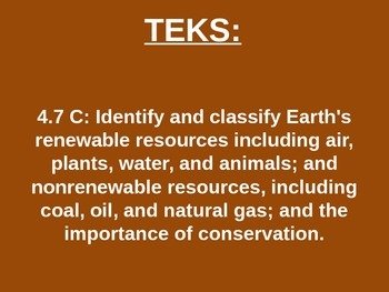 "Daily Quick Checks, ""Earth's Resources"" (Science TEKS 4.7C)"
