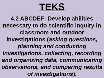 "Daily Quick Checks, ""Experimental Design"" (Science TEKS 4.2A-F)"
