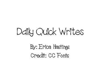 Daily Quick Writes