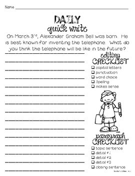 Daily Quick Writes {MARCH}