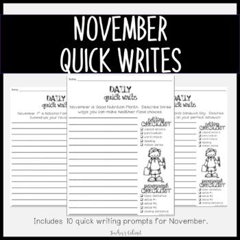 Daily Quick Writes {NOVEMBER}