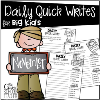 Daily Quick Writing Prompts for BIG KIDS Fall