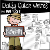 November Daily Quick Writing Prompts for BIG KIDS
