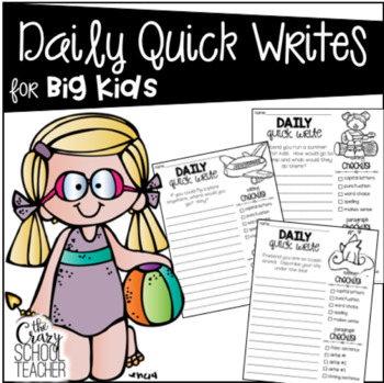 Daily Quick Writing Prompts for BIG KIDS  Summer