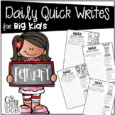 February Daily Quick Writing Prompts for BIG KIDS
