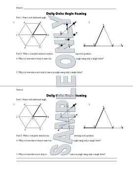 Daily Quiz: Angle Naming